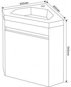 Ъглов PVC шкаф долна част с мивка 3939