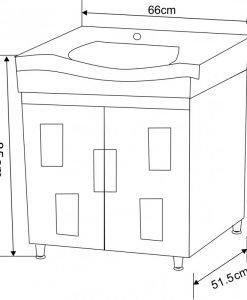 PVC шкаф долна част с мивка ДАФНИ 6591