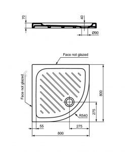 Ъглово керамично душ корито VIDIMA SEVAFRESH W836401 80*80