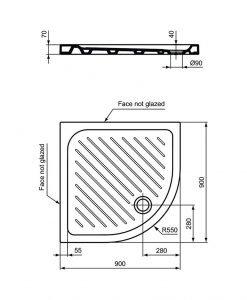 Ъглово керамично душ корито VIDIMA SEVAFRESH W836501 90*90