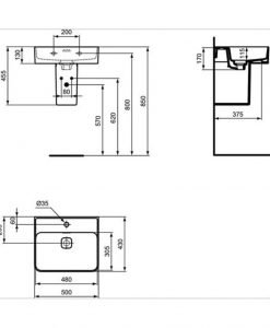 Луксозен умивалник IDEAL STANDARD STRADA II T292801 50см