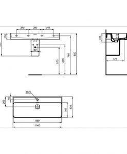 Луксозен умивалник IDEAL STANDARD STRADA II T300201 100см
