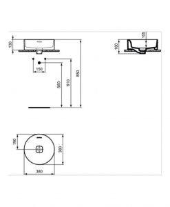 Мивка за монтаж в/у плот с кръгла форма IDEAL STANDARD STRADA II T292901 38см
