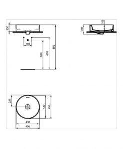 Мивка за монтаж в/у плот с кръгла форма  IDEAL STANDARD STRADA II T296101 45см
