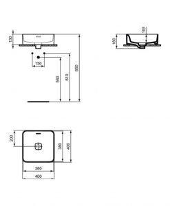 Мивка за монтаж в/у плот с квадратна IDEAL STANDARD STRADA II T296301 40см