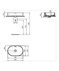 Овална мивка за монтаж в/у плот IDEAL STANDARD STRADA II T360401 60см