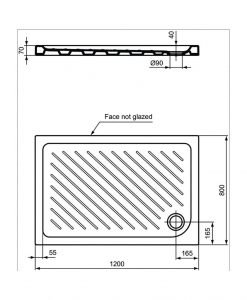 Правоъгълно керамично душ корито VIDIMA SEVAFRESH W839001 120*80