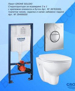 Промо комплект структура и окачена тоалетна GROHE SOLIDO 52102