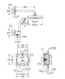 Термостатен душ комплект за вграждане Grohe Grohtherm 34727000
