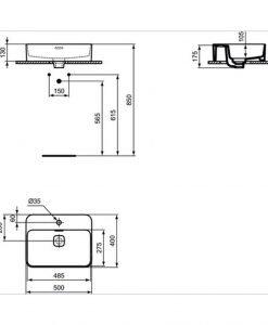 Умивалник за монтаж в/у плот IDEAL STANDARD STRADA II T296601 50см