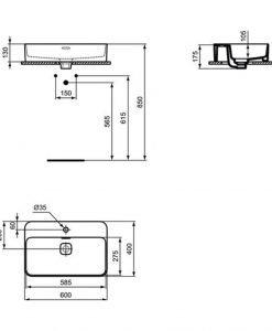 Умивалник за монтаж в/у плот IDEAL STANDARD STRADA II T299801 60см