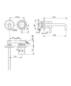 Вграден смесител за мивка IDEAL STANDARD CERALINE A6938AA