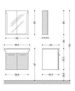 Комплект шкаф за баня VISOTA ЛИНЕА 65 PVC/HPL