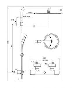 Термостатна душ система Ideal Standard Idealrain Luxe A6984AA