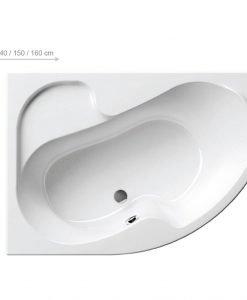 Асиметрична акрилна вана Ravak Rosa 150*105