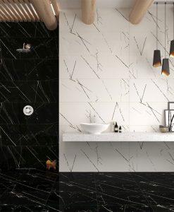 Баня в черно и бяло серия Agatha Bien seramik 40*120