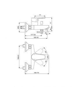 Смесител за вана/душ Ideal Standard Esla BC229AA
