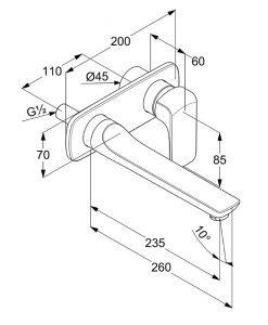 Смесител за вграждане за умивалник външно тяло KLUDI AMEO 412450575