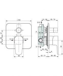 Вграден смесител за вана/душ  Ideal Standard Esla A6947AA