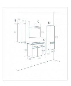 PVC шкаф с мивка модел Elegance 75