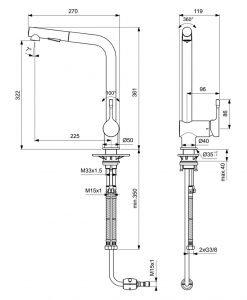 Смесител с изтеглящ се чучур Ideal Standard Ceralook BC178AA