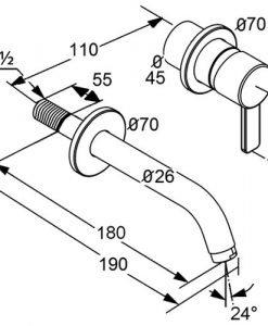 Смесител за вграждане за умивалник с вътрешно тяло KLUDI ZENTA 382440575