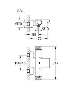 Термостатен смесител за вана/душ GROHE GROHTHERM 2000 NEW 34174001