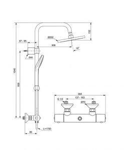 Термостатна душ система Ideal Standard Idealjet EVO A6942AA