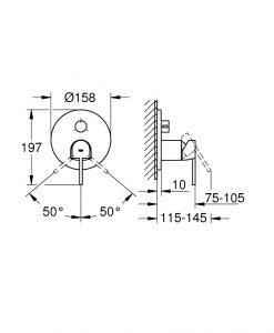 Едноръкохватков смесител с 3-посочен превключвател Grohe Plus 24093003