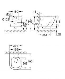 Компактна тоалетна Grohe Rimless Euro Ceramic Pure Guard 3920600H