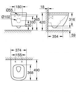 Окачена тоалетна 49 см. Grohe Rimless Euro Ceramic Pure Guard 3920600H