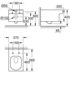 Окачена тоалетна Grohe Rimless Cube Ceramic 3924400H
