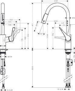 Смесител за кухня едноръкохватков HANSGROHE CENTRO XL14803000