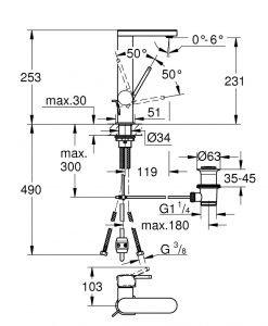 Смесител за мивка с издърпващ се чучур L размер Grohe Plus 23843003
