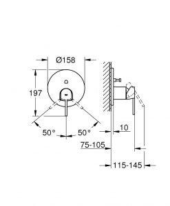 Смесител за вграждане за вана/душ Grohe Plus 24060003