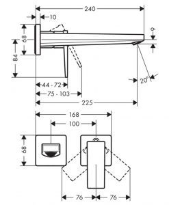Вграден смесител за мивка Hansgrohe METROPOL 32526000
