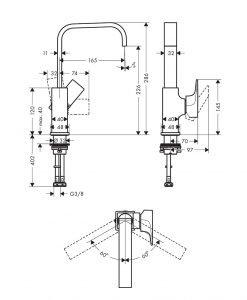 Висок смесител за мивка Hansgrohe METROPOL 230 32511000