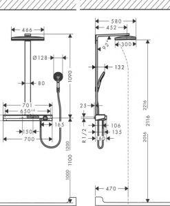 Душ система термостат HANSGROHE RAINMARKER SELECT 460 3JET 27106400