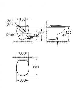 Конзолна тоалетна чиния GROHE BAU CERAMIC