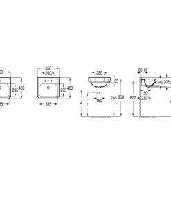 Ретро умивалник 65см. за стенен монтаж или в/у мебел Roca Carmen A3270A1000