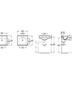 Ретро умивалник 80см. за стенен монтаж или в/у мебел Roca Carmen A3270A0000