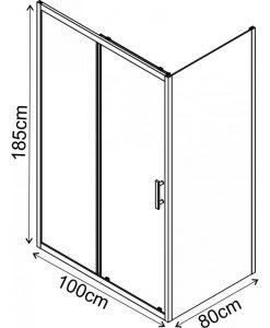 Правоъгълна душ кабина модел 1505B профил черен 100*80