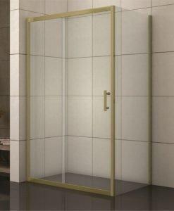 Правоъгълна душ кабина модел 1505G профил злато 100*80