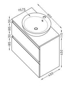 PVC шкаф за баня две чекмеджета TULIP 80