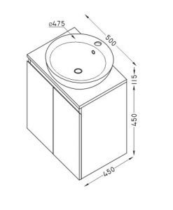 PVC шкаф за баня две вратички TULIP 50