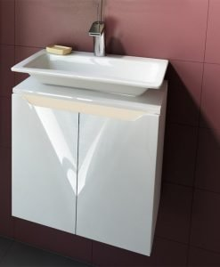 PVC шкаф за баня с порцеланов умивалник модел CARRE 50см.