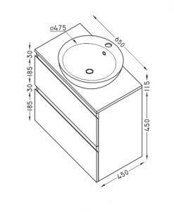 PVC шкаф за баня две чекмеджета TULIP 65