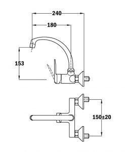 Кухненски смесител с въртящ се чучур Teka INCA Б.573.1.ХРOM