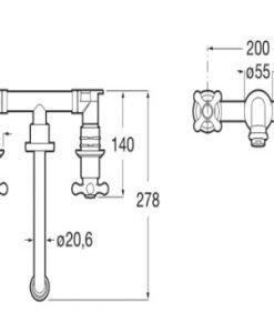 Смесител двуръкохватков вграден за умивалник ROCA CARMEN A5A474BC00