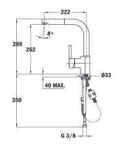 Смесител за кухня ТЕКА модел ARES K938 PULL OUT Б.037 черен